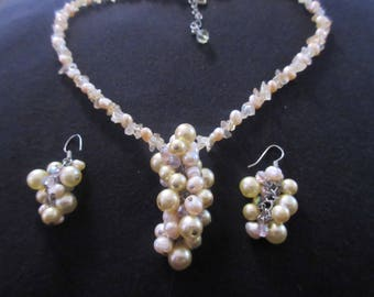 Vintage Crystals Cultured and Fresh Water Pearl Necklace & Earrings Set Demi - Parure