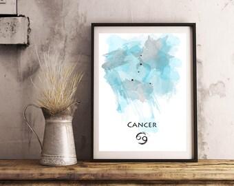 Cancer Zodiac print   Horoscope art print   Star sign art