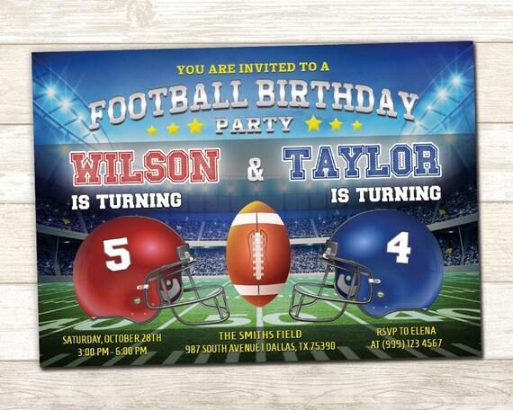 Joint football birthday invitation sibling birthday invite il570xn filmwisefo