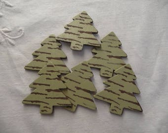 set of 6 wooden Christmas trees