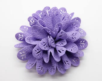 2 Purple Eyelet Baby Girl Flower Hair Clips Brooches 1 Pair