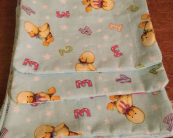 Duck- Cotton - Flannel - Burp Cloth- Yellow Ducks- 1,2,3,4 Numbers- set of 3