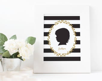 Profile Silhouette, Custom Silhouette Portrair, Silhouette Family Art, Kid Silhouette, Family Keepsake Art, Wall Art, Father's Day Gift