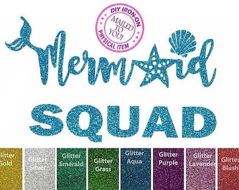 Diy MERMAID SQUAD Iron On Applique, Heat Transfer, Decal, Glitter Patch, Kid, Toddler, Adult, Child, Tank, Top, Shirt