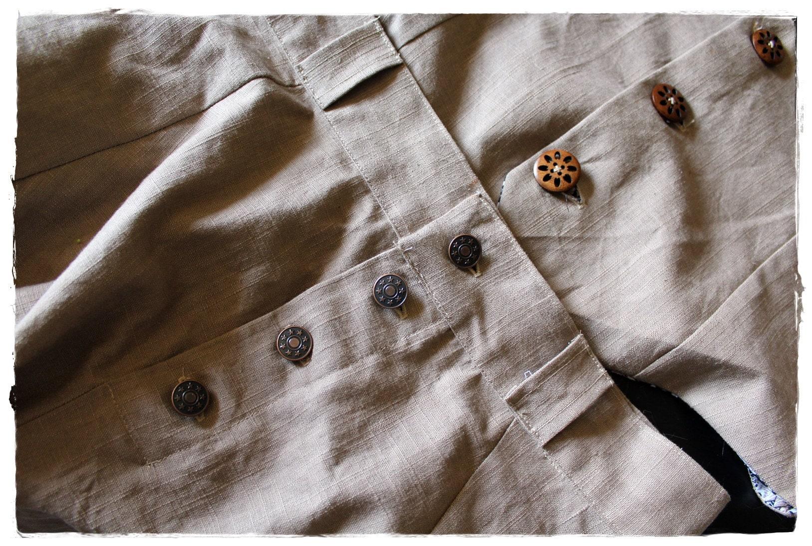 Costume homme en lin, le gilet et le sarouel - Mens costume in linen, waistcoat and sarouel