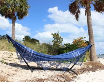 Brazilian Hammock with Fringe: Blueberry