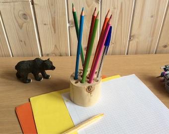 Pencil holder, organizer desk, birch, back to school pencil pot