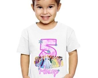 Disney Princess Birthday Shirt Customized Name and Age Personalized Birthday Girl Disney Princess Shirt Party Favors