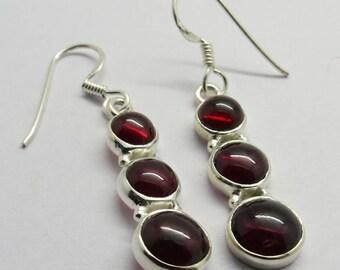 1 Pair Earrings 925 Sterling Silver Natural Red Garnet Stone Handmade Earring