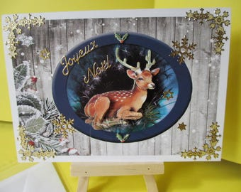 Map stickers and 3D (relief) reindeer gold Merry Christmas
