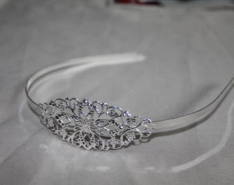 Silver metal filigree headband - print