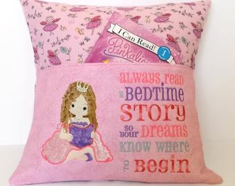Princess Reading Pocket Pillow - Reading Pillow, Pocket Pillow, Reading Gift, Princess Birthday, Princess Gift