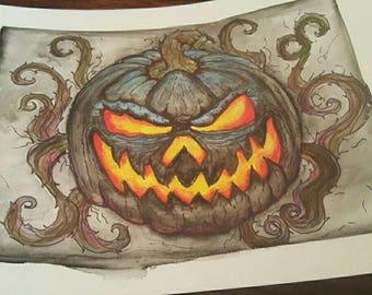 Scary Jack-O-Lantern print
