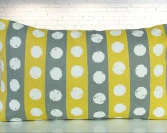 Yellow/grey striped Cushion cover, 50 x 30 cm