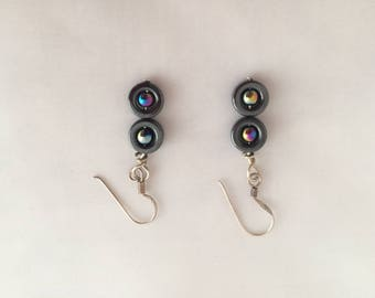 Rainbow haematite inside round haematite donut circle drop earrings