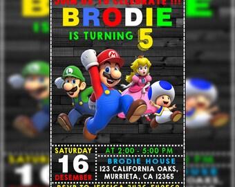 Super Mario Invitation,Super Mario Birthday Invitation,Super Mario Birthday Party,Super Mario Printable Invitation