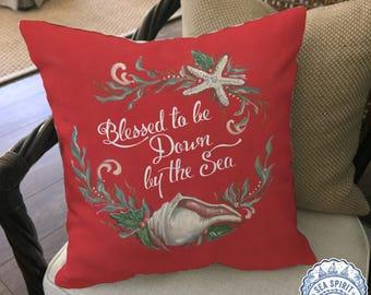 Coastal Christmas decor | Coastal Christmas pillow cover | coastal decor | beach Christmas decor | seashell gift | Kate McRostie