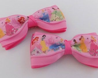 Princesses Hair Bow - Girls Hair Bow, Toddler Hair Bow, Ribbon Hair Bow, Pigtail Hair Bow, Hair Bows, Hair Accesory, Hair Bow for girl