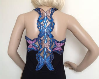 T-shirt style top with butterfly back in small - medium size