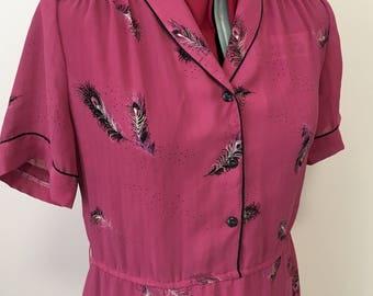 Vintage 1980s pink feather pattern tea dress