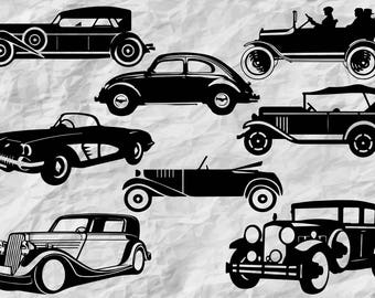 8 Classic Car Silhouettes | Classic Cars SVG cut files | Classic Cars cliparts | vectors | printable | vintage cars | wall print