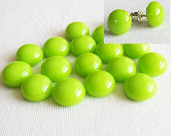Spring Green Cabochon 9-10mm (18 cabs) Small Cabochon Fused Glass Cabochon Round Cabochons Simple for Post Earrings Jewellery