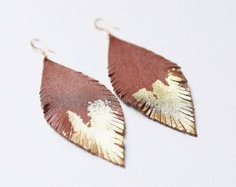 Brown Fringe Leaf Earring