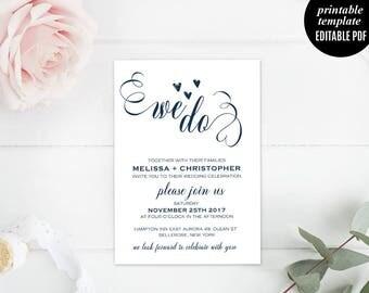 Navy Wedding Invitation Template, Printable We Do Wedding Invitation, Modern Wedding Invite, Calligraphy, Elegant, Download, Editable, PDF