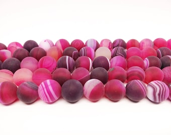 8mm Pink Matte Agate Round Beads Frosted Pink Agate Striped Pink Agate Stone Beads 10mm Pink Agate 12mm Pink Matte Agate Gemstone Beads