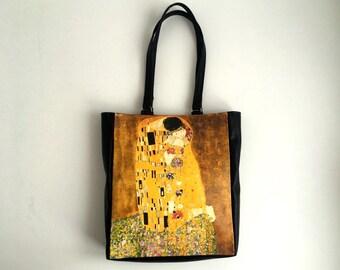 The Kiss Shopper Bag Faux Leather Tote Bag Gustav Klimt Shopping Bag