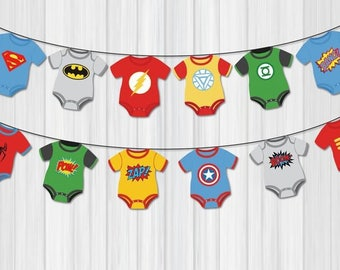 Superhero Baby Shower Banner. Comic Book Theme Bunting Banner. . Superheroes Baby Shower Decorations, Avengers Banner, Avengers Inspired