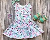 Watercolor Floral Dress. Flower Dress. Spring Dress. Baby Dress. Floral Dress. Little Girl Dress. Twirl Dress. Twirly Dress. Toddler Dress