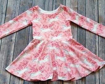 READY TO SHIP. Pink Unicorn Dress. Horse Dress. Unicorn Dress. Long Sleeve Dress. Size 2T Dress. Toddler Dress. Twirl Dress. Twirly Dress.