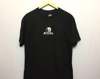 Vintage 90's Skull Skateboard Black T-Shirt Men's Large Size Rare Vintage Skateboard Powell Santa Cruz