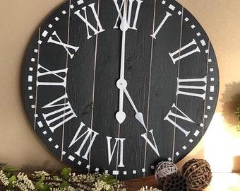 Clock - Clock for Wall - Rustic Clock - Farmhouse Clock - Farmhouse Decor - Farmhouse Clock White - Farmhouse Clock Large - Large Wall Clock