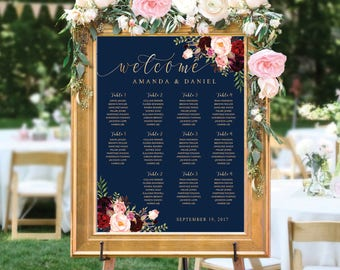 Wedding Seating Chart, Poster wedding, Seating Chart, Wedding Table seating, Navy seating chart, seating chart alphabet, Find Your Seat, 25C