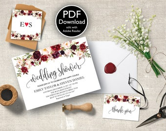 Wedding Shower Invitation, Fall Floral Bridal Shower Card, Couples Shower Invite, Editable Card Printable, Instant Download PDF,  #04