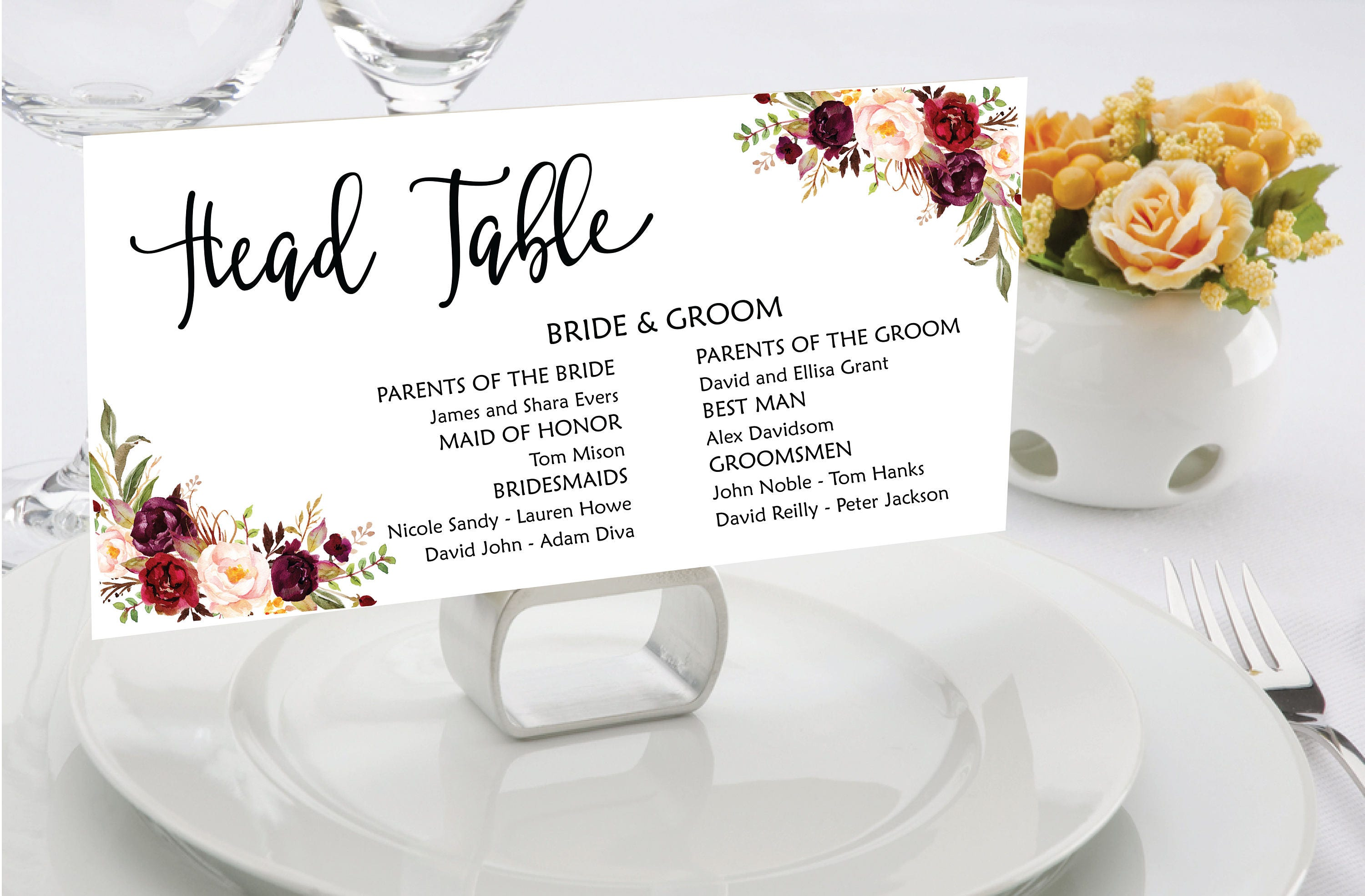 Wedding Seating Chart Template Boho Seating Cards Table Plan