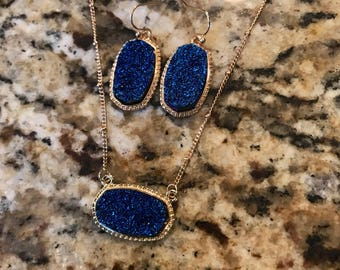 """Blue Druzy & Gold Earring and Necklace Set, 18"""" Chain"""