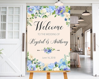 Wedding Welcome Sign Light Blue Flowers Floral Boho Digital Wedding Reception Sign Bridal Wedding Welcome Poster WS-035