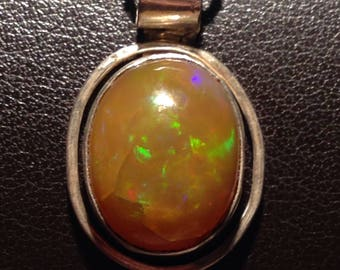 Chocolate ethiopian opal pendant