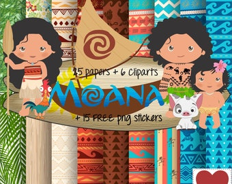 Moana Digital Paper Kit Digital Moana Cute Clipart Moana Baby Clip Art Moana
