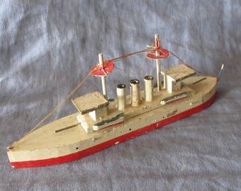 vintage folk art hand carved wooden toy boat