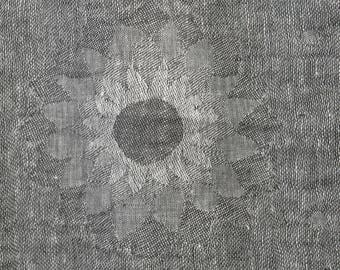 Grey jacquard pre-washed 100% LINEN Fabric - European - SOFTENED - Pure flax textile - Floral patterned