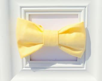 Yellow baby bow tie, toddler bow tie, kids bow tie, bowtie onesie, boys bow tie, newborn bowtie, clip on bow tie, baby bow tie, bow tie