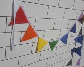 Mini Rainbow Fabric Bunting Banner Flags