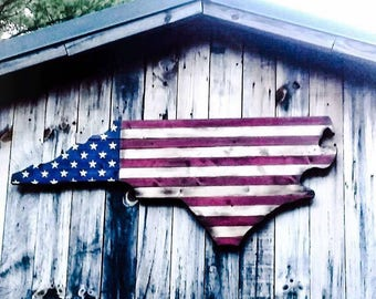 Patriotic Burned Wood American Flag Wall Art (NC)