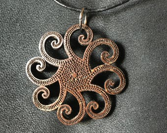 Octopus Coconut Shell Pendant