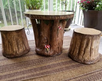 child tree trunk table and chair set
