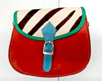 Celeste: Upcycled High Quality Hand-made Leather Colourful Shoulder Bag with Animal Print